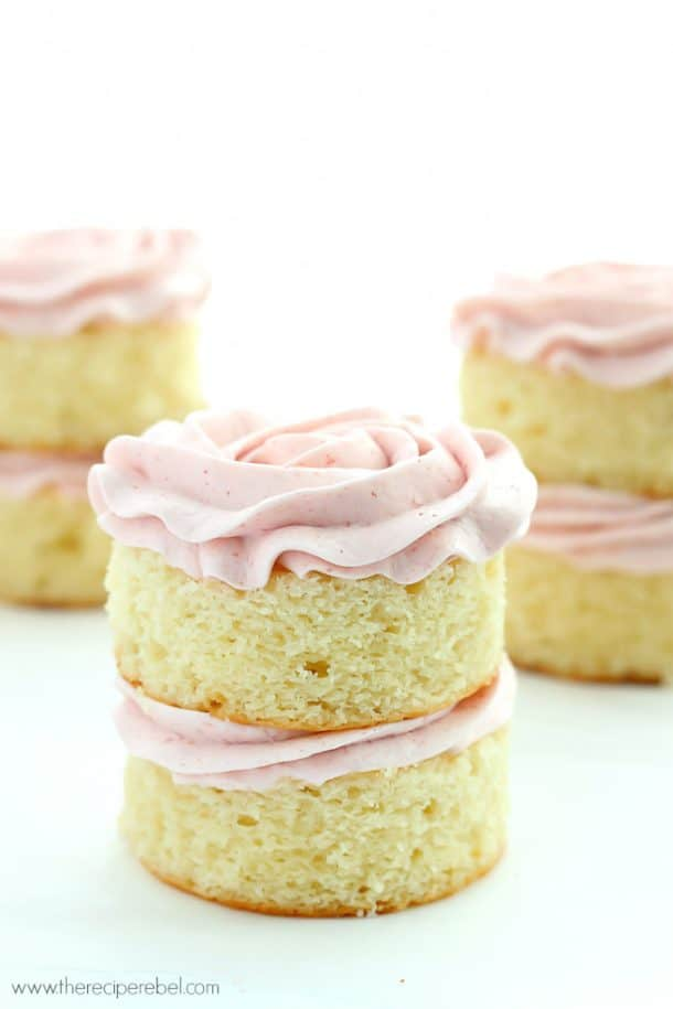 Mini Vanilla Layer Cakes With Strawberry Swiss Meringue Buttercream