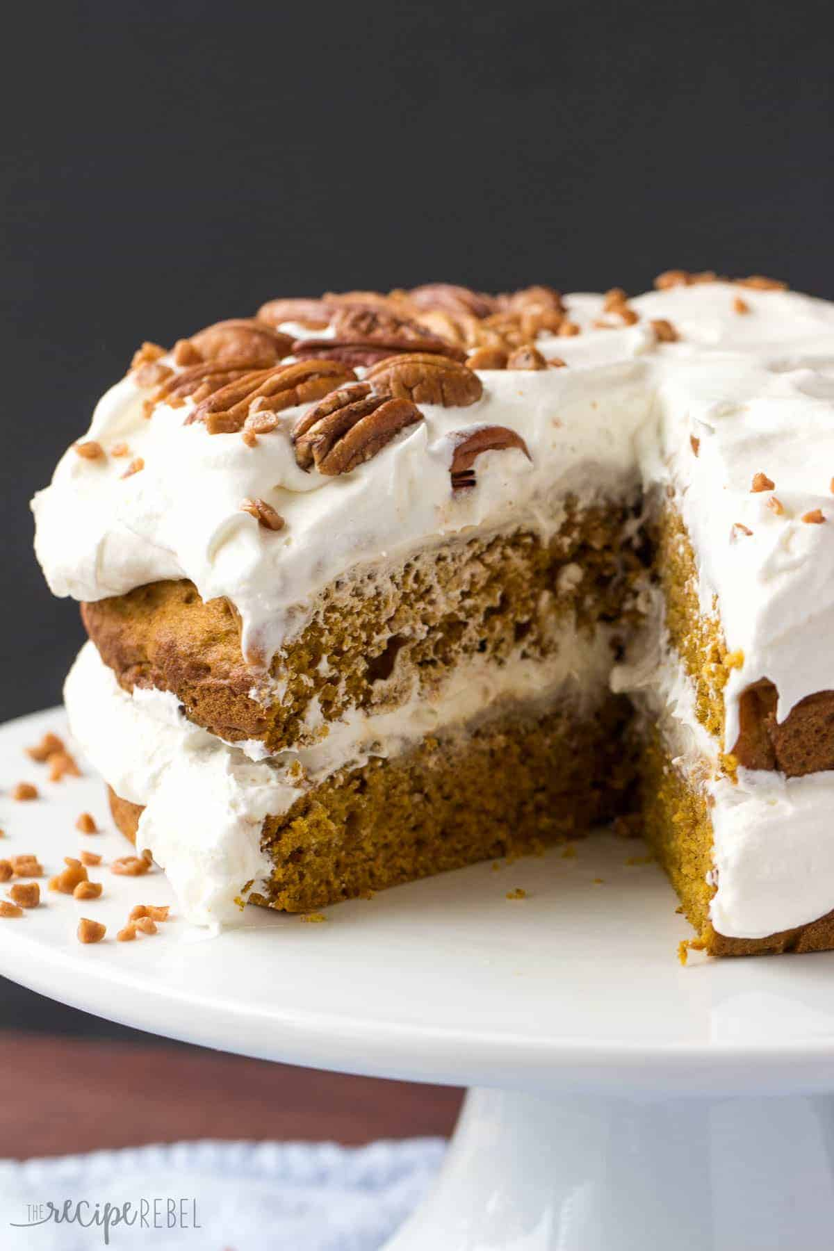 Pumpkin Caramel Pecan Naked Cake {The Recipe Rebel}