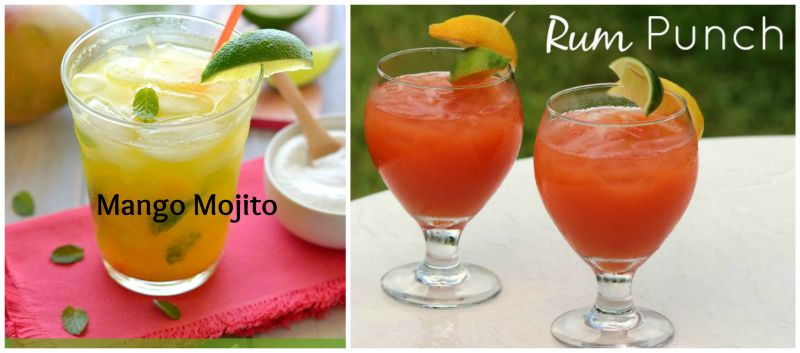 Mango Mojito and rum punch collage