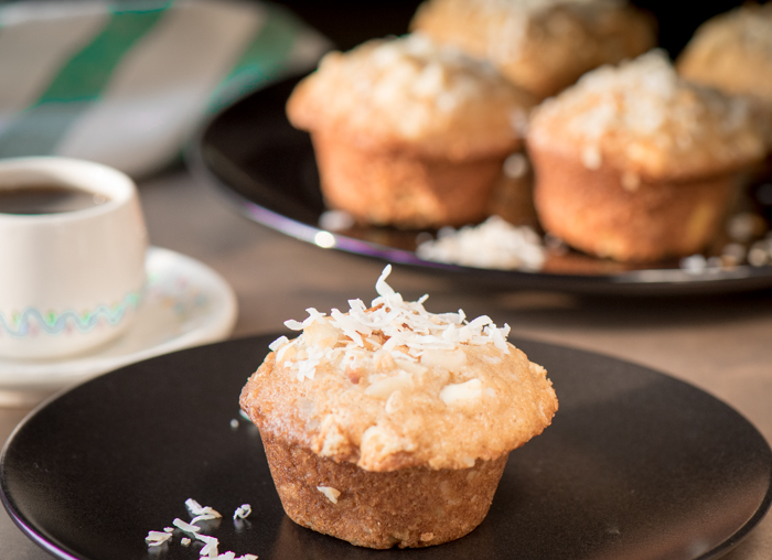Coconut macadamia nut muffins are perfect anytime -- breakfast, snack or dessert! Not too sweet, easy to make and filling. Make extra to freeze! | The Recipe Wench