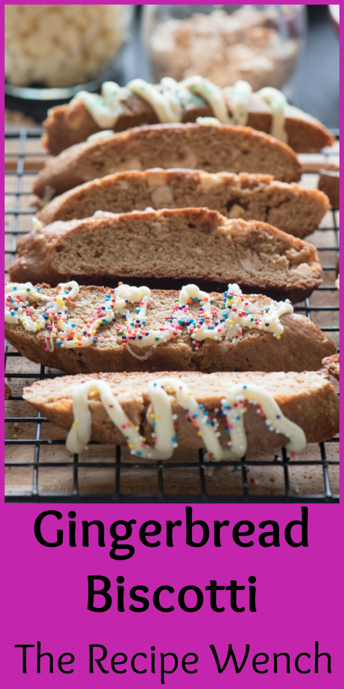 Fun, festive and tasty gingerbread white chocolate biscotti with white chocolate. Pour yourself a glass of milk or cup of coffee and dunk away! | The Recipe Wench