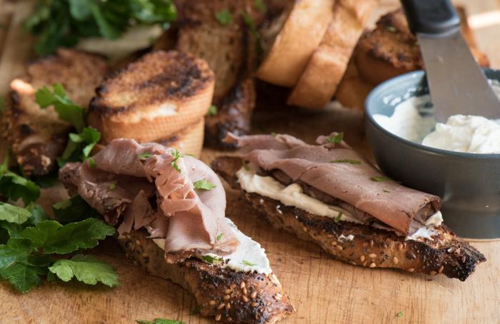 Roast Beef Bruschetta with Horseradish Cream Cheese
