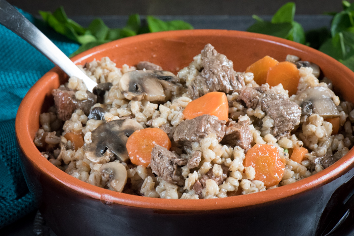 Hearty beef barley stew with mushrooms and spinach. Easy comfort food! | The Recipe Wench