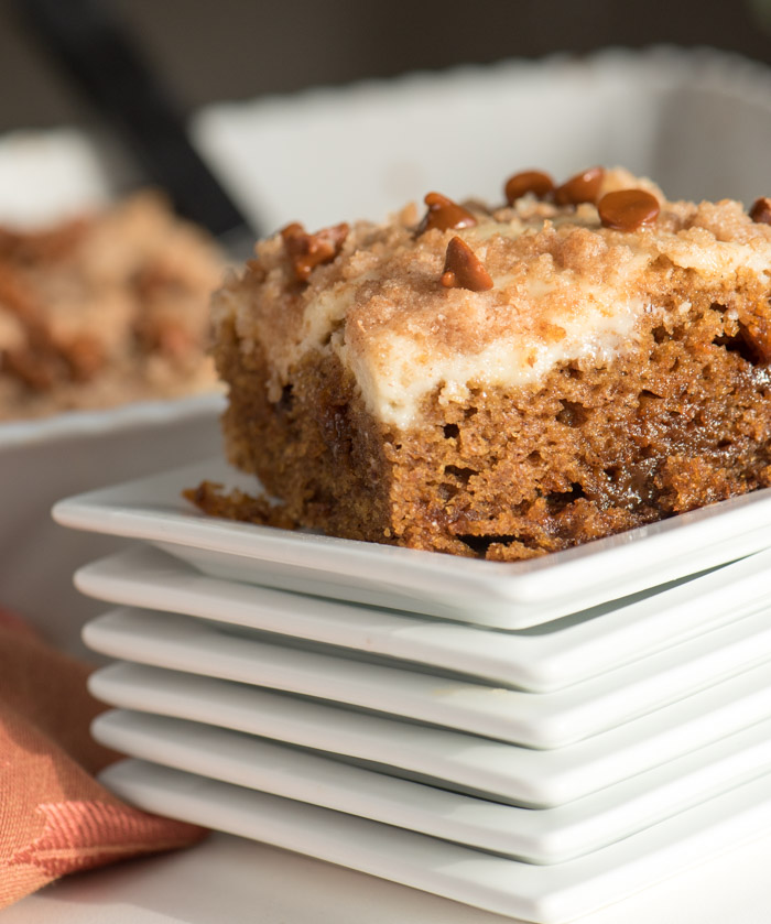 This cake! The cream cheese layer is so good I just want to grab a spoon and go to town! Don't wait for fall -- pumpkin's good year-round!   The Recipe Wench