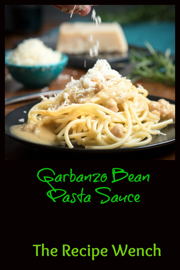 Oh my! This garbanzo bean pasta sauce is so good. Perfect vegan/vegetarian option! I freeze extra in ziplocks so I can have it anytime! | The Recipe Wench