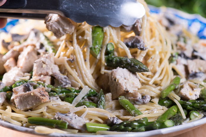 Lemon chicken pasta with asparagus -- look how delicious! I've added mushrooms and loads of fresh grated parmesan.