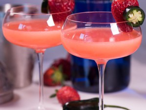 Fresh strawberry martini made with a rich strawberry syrup