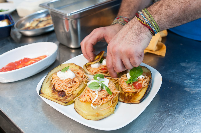 Spaghetti stuffed eggplant at our cooking lesson in Taormina Sicily