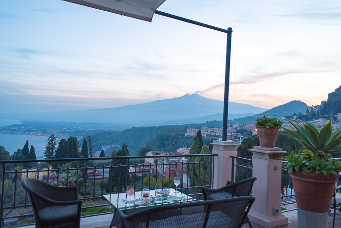 Hotel Timeo terrace with Mount Etna in the distance Taormina Sicily