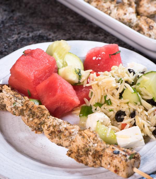 Greek chicken skewers -- fill your plate!