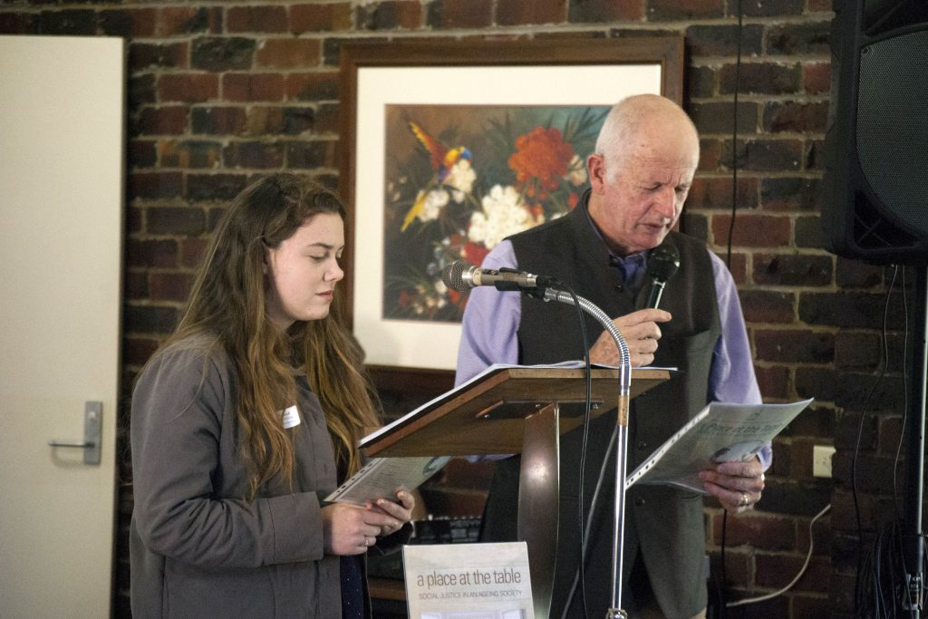 Annie Purbick from the Australian Young Christian Students and Jim Smith, former Executive Officer of the Catholic Social Justice Council, lead the 2016-2017 Social Justice Prayer, titled A Prayer for All Ages. Photo: Rachel Curry