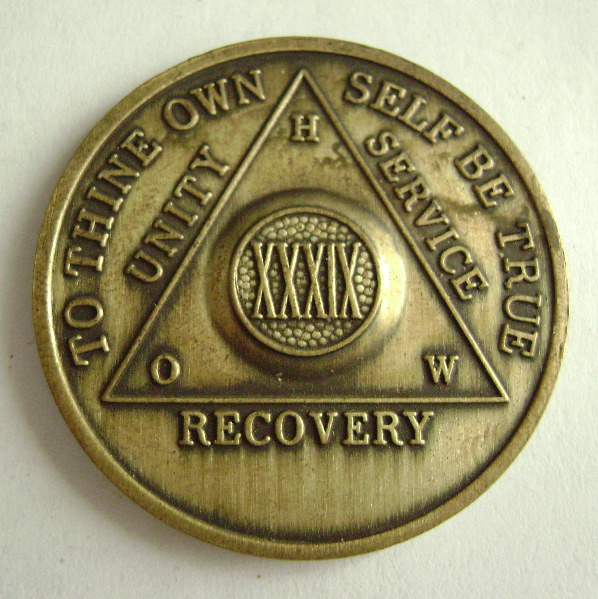 vintage 39 year bronze aa anniversary medallion the recovery gift