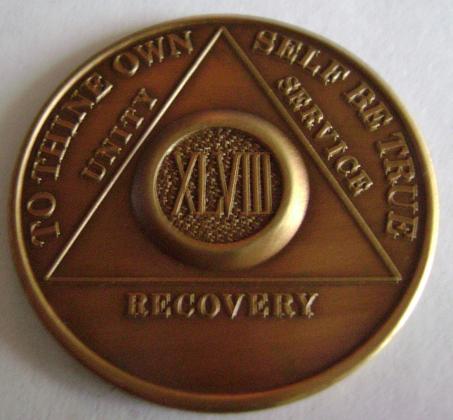One Day At A Time Antique Bronze AA coin recovery medallion token chip