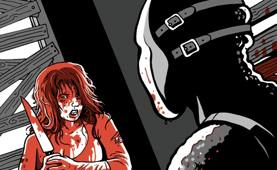 Final girl cover shows a girl coered in blood with a knife facing a killer in a mask