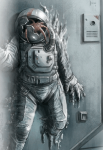 A space suit, emerging from a solid wall with an alien creature in it's broken faceplate