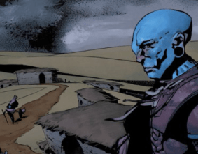 A blue man looks across a bleak landscape with low houses