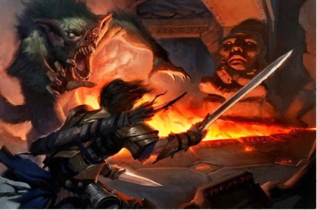 A fighter circles Malfeshnekor, blade ready