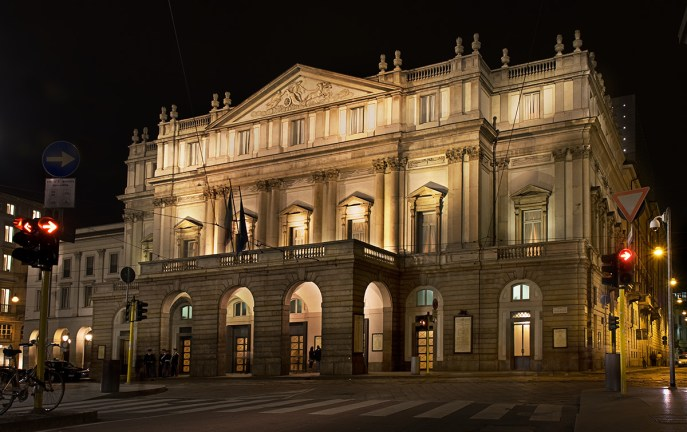 La Scala in Milan at night. A grand old white building