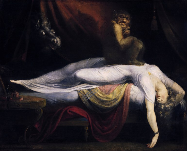 John Henry Fuseli's painting, The Nightmare. A hag sits on the chest of a sleeping woman.