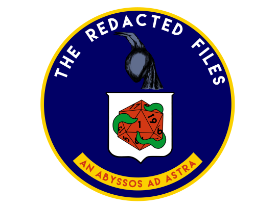 TRF logo, reminiscient of CIA seal, with a night gaunt in profile, a white shield with a red d20, 1 pointing up, and tentacles wrapped around it. At the bottom it reads An abyssos ad astra