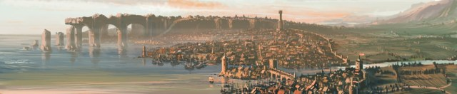 panoramic view of magnimar. It's a city on the coast with tall columns going out into the water