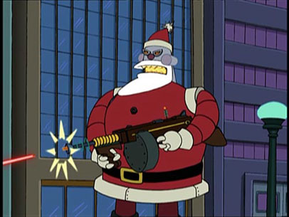 Robot santa unleashes with a machine laser gun