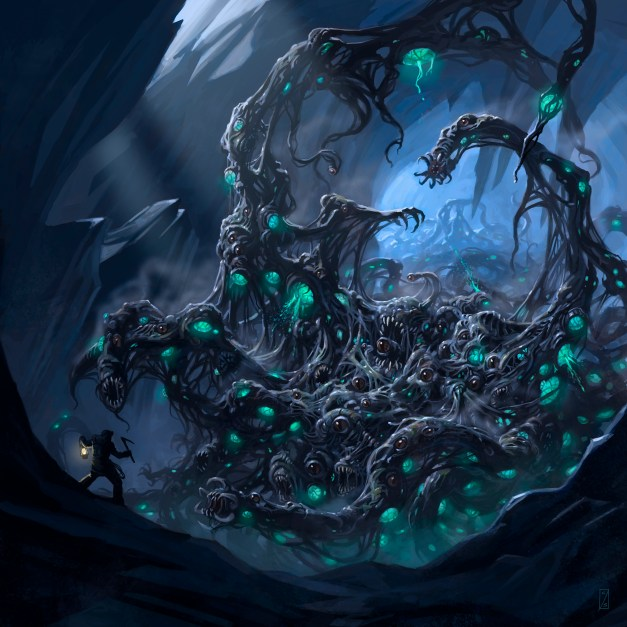 A large creature towers over a tiny adventurer in a cave, with green bulbous eyes staring down at them