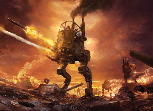 A sentinel walker strides across a battlefield, firing as it goes