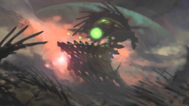 A creature with a large glowing green spot moves through the red fractals