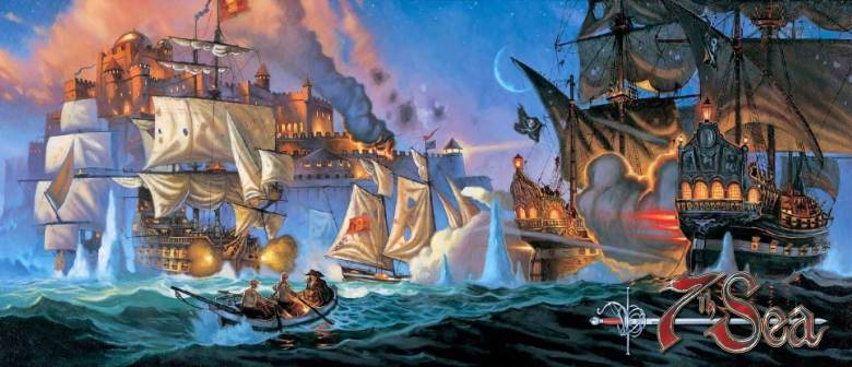 Image showing ships with white sails in battle with a ship with dark sails.