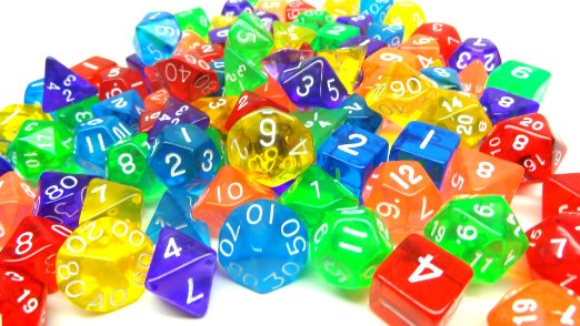 Pile of translucent polyhedral dice, all in bright colors