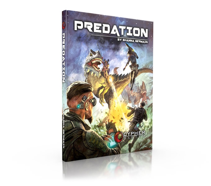 Cover of predation shows a person on the back of a dinosaur fighting of three assailants with a flame thrower and spear