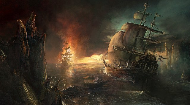 A ship emerges from a bay and a ship on fire is ahead of it