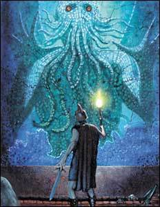 A roman soldier holds a torch up to a mosaic showing Cthulhu reaching out to him