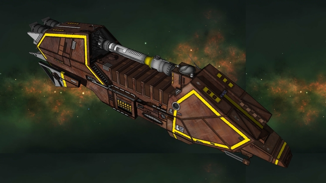 A large brown freighter, the WIld Karrde from Star Wars