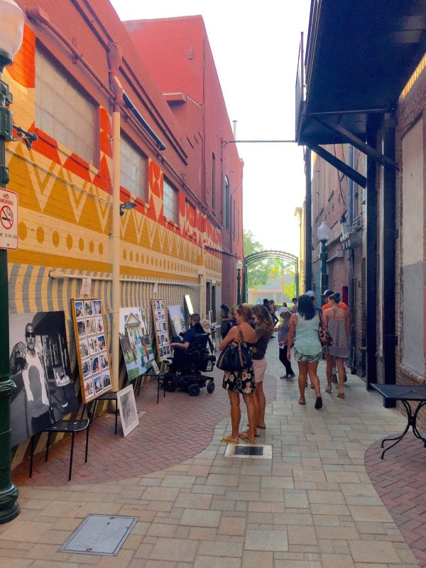 Redlands Art Walk Downtown with Umbrella