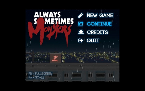 Always Sometimes Monsters Review Screenshot Wallpaper Title Screen