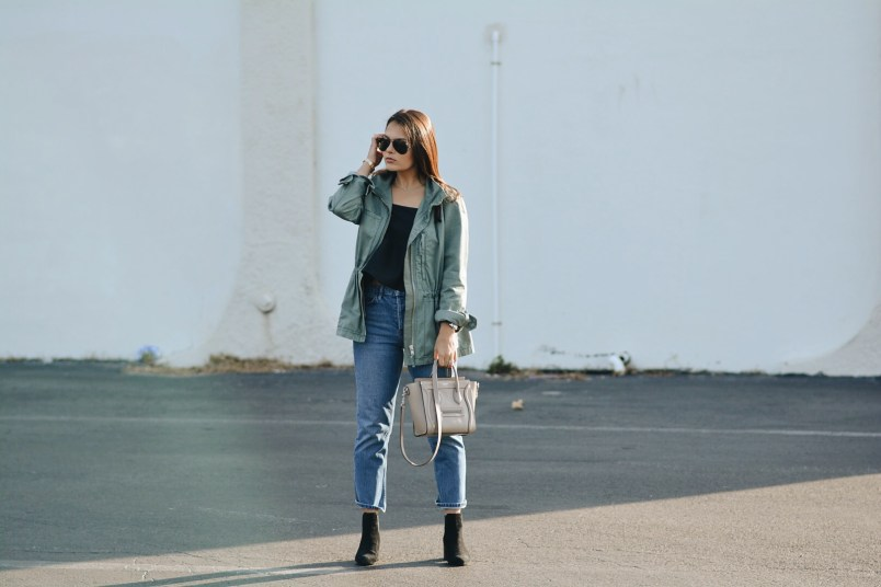 Military Jacket Boyfriend Jeans Celine Bag Boston Blogger