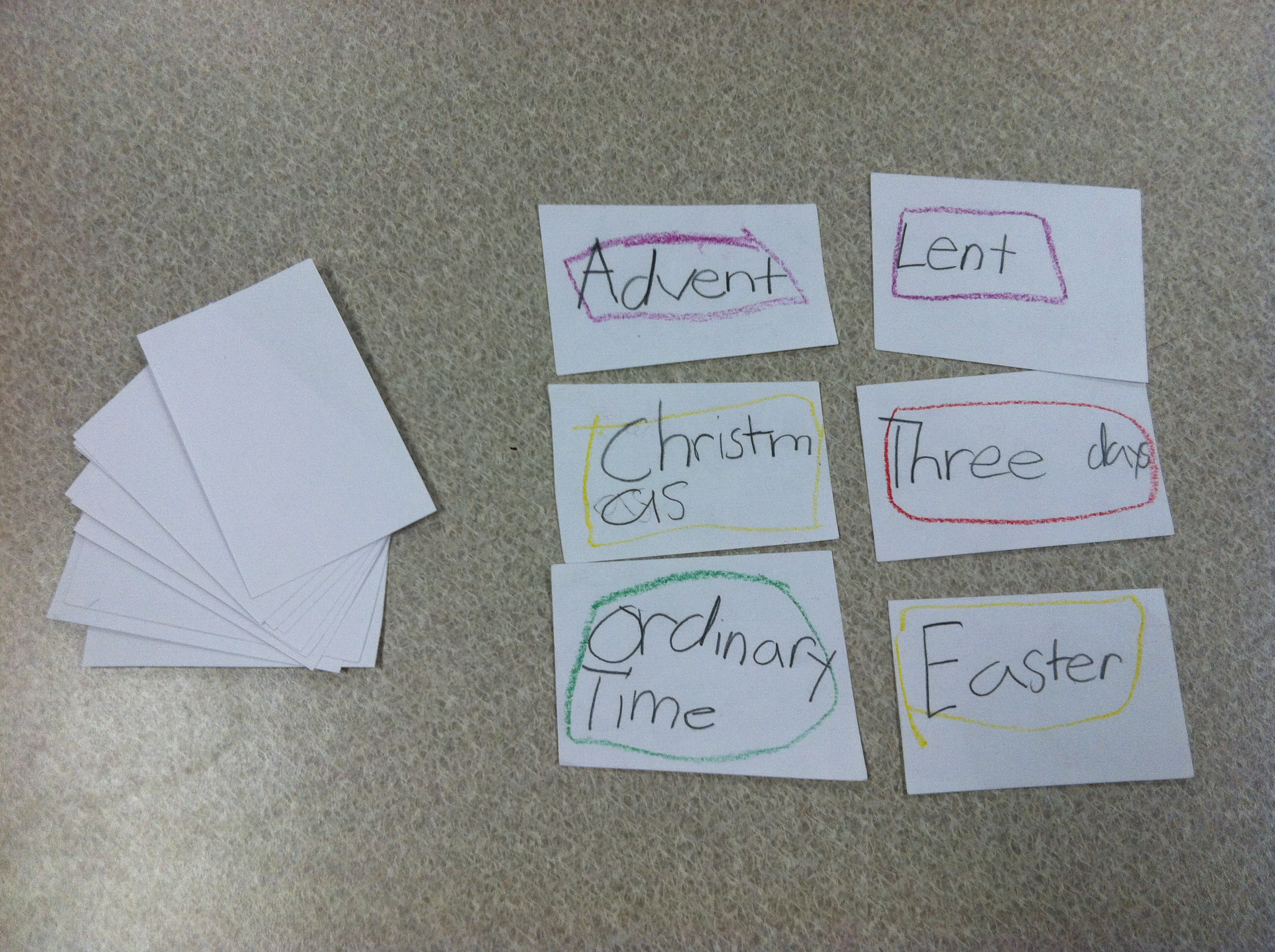 Liturgical Year Lesson Plan And Flashcard Activity