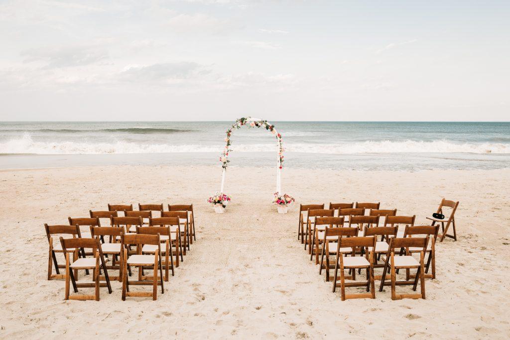 Ceremony setup photo at corolla beach