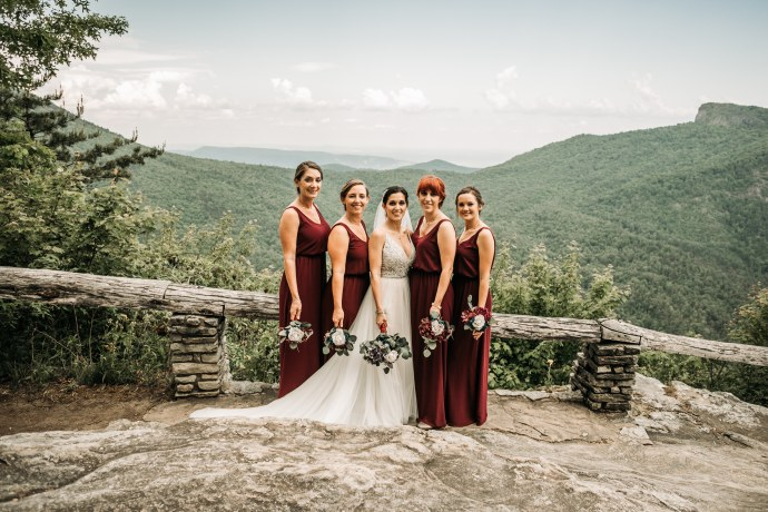 A bride and her bridesmaids at Wiseman's View