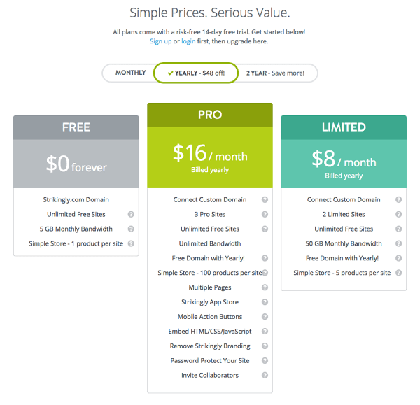 Strikingly Pricing Plans   How to Create Amazing Personal Websites in One Click