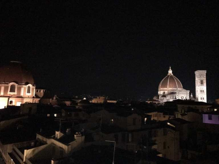 Duomo at night from rooftop Florence