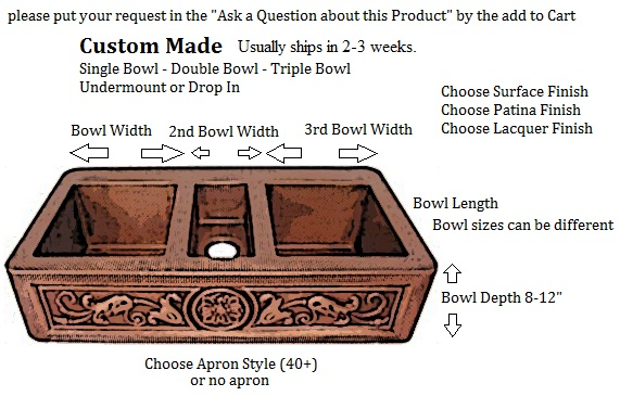 kitchens custom copper kitchen sink 1 2 or 3 bowl