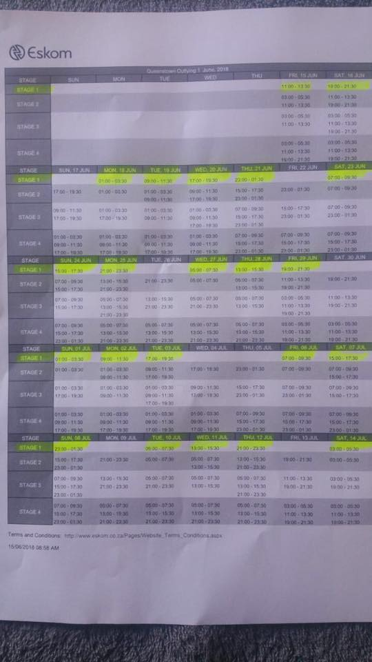 Loadshedding schedule from Eskom - The Rep