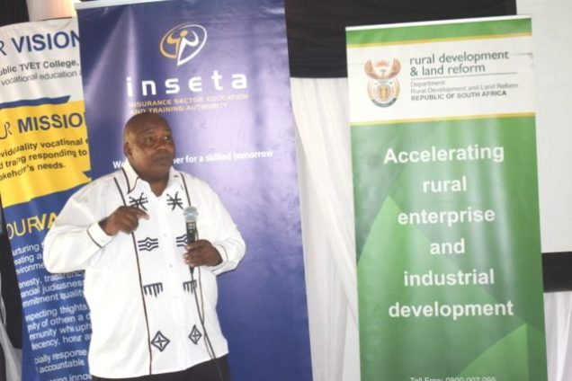 CREATING OPPORTUNITIES: Department of rural development and land reform skills development programme director Mandayi Rala shares vital information with participants in the National Rural Youth Service Corps Picture: ZINTLE BOBELO