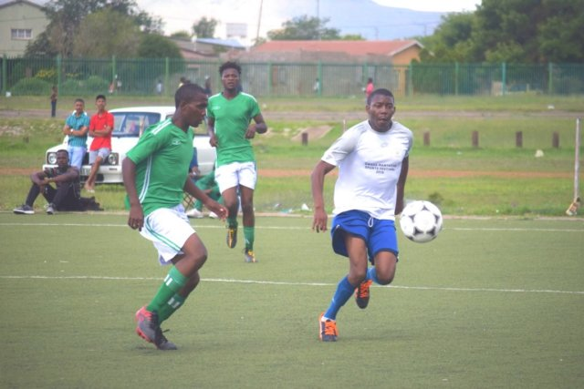 STARS KEEP SHINING: Two for Joy FC, in green, were beaten 9-1 by Seven Stars on Sunday at the Dumpy Adams Sports Complex in a Safa regional league soccer match Picture: NTSIKELELO QOYO