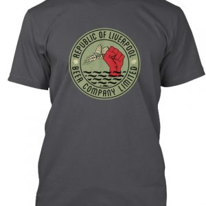 Grey Republic of Liverpool Beer Company T-shirt with green logo