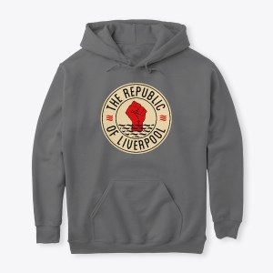 Grey Republic of Liverpool hoodie with beige logo