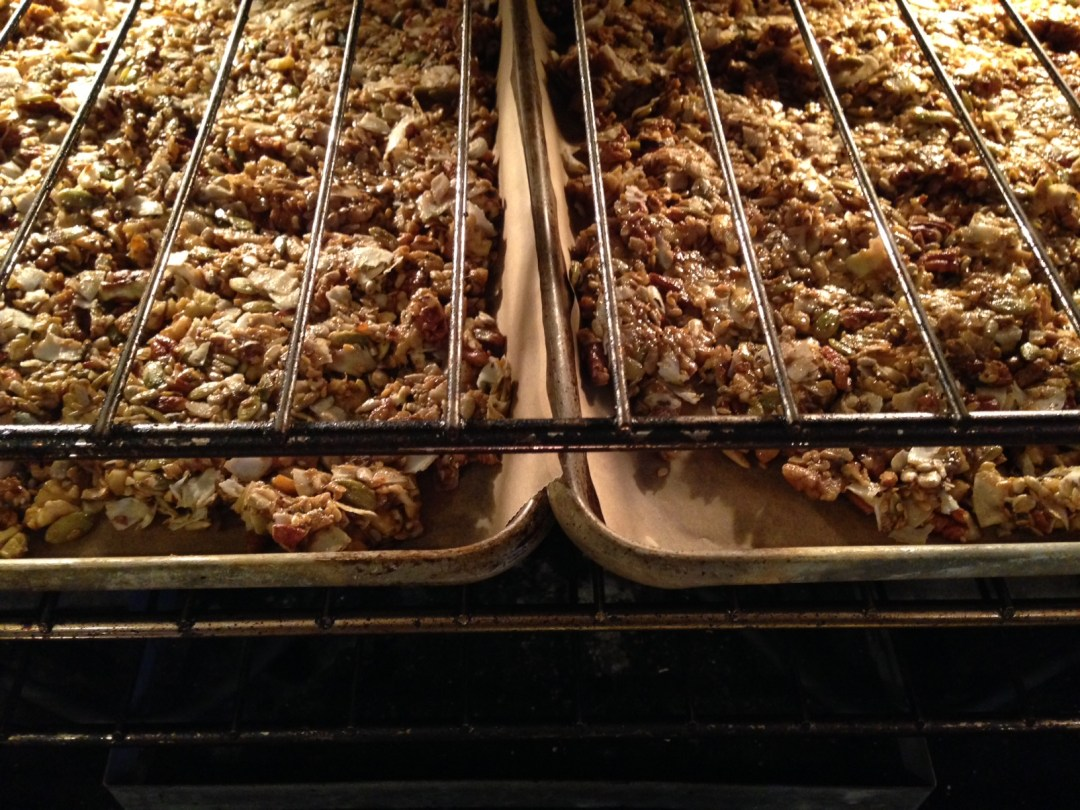 chai granola baking in oven